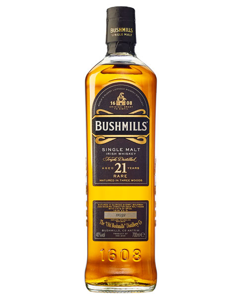 Erhält nach der Fassreife im Bourbon- und Sherryfass ein Madeira-Finish: Bushmills 21 Single Malt Irish Whiskey